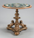 Furniture : Continental, A CONTINENTAL CARVED AND GILT WOOD TRIPARTITE TABLE BASE WITH LATERSPECIMEN MICROMOSAIC TOP. 19th/20th centuries. 63 inches... (Total:2 Items)
