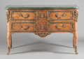 Furniture : French, A FRENCH RÉGENCE-STYLE MAHOGANY, SATINWOOD AND OAK COMMODE WITHGILT BRONZE MOUNTS AND VERDE MARBLE TOP. Circa 1920 with lat...(Total: 3 Items)