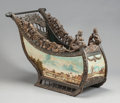 Decorative Arts, Continental, A CONTINENTAL MAHOGANY PAINTED SLEIGH. 19th century. 33 x 25-1/2 x 44 inches (83.8 x 64.8 x 111.8 cm). ...