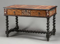 Furniture , A PORTUGUESE WALNUT, FRUITWOOD, EBONIZED WOOD AND MOTHER-OF-PEARL INLAID TABLE. 19th century. 31-1/4 x 41 x 28 inches (79.4 ...
