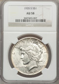 Peace Dollars: , 1935-S $1 AU58 NGC. NGC Census: (213/2550). PCGS Population(290/3900). Mintage: 1,964,000. Numismedia Wsl. Price for probl...