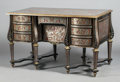Furniture : French, A LOUIS XVI-STYLE EBONIZED WOOD AND BOULLE MARQUETRY BUREAU MAZARIN . 19th century. 33 x 53 x 30-1/2 inches (83.8 x 134.6 x ...