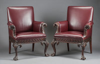 A PAIR OF IRISH MAHOGANY AND LEATHER UPHOLSTERED ARM CHAIRS 19th century 42-1/2 x 35 x 24 inches (108.0 x 88.9