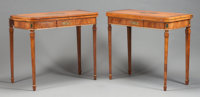 A PAIR OF EDWARDIAN MAHOGANY AND SATINWOOD PAINTED GAME TABLES Circa 1900 30-3/4 x 36 x 36 inches (78.1 x 91.4