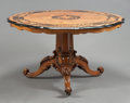Furniture , AN ENGLISH VICTORIAN BURL WALNUT AND MARQUETRY TILT TOP TABLE. 19th century. 29-1/2 inches high x 50 inches diameter (74.9 x...