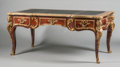 Furniture : French, A LOUIS XV-STYLE MAHOGANY AND GILT BRONZE MOUNTED BUREAU PLAT WITHLEATHER INSET TOP. 20th century. 30-1/2 x 69 x 37 inches ...