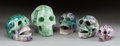 Miscellaneous, FIVE CARVED FLUORITE STONE SKULLS. 20th century. 5-3/4 inches high(14.6 cm) (tallest). ... (Total: 5 Items)