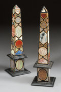 Decorative Arts, Continental, A NEAR PAIR OF ITALIAN PIETRA DURA OBELISKS. 20th century. 21-1/2inches high (54.6 cm). ... (Total: 2 Items)