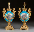 Decorative Arts, French:Lamps & Lighting, A PAIR OF SÈVRES-STYLE PORCELAIN AND FIGURAL GILT BRONZE MOUNTEDLAMP BASES . Early 20th century. 21-3/4 inches high (55.2 c...(Total: 2 Items)