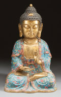 Asian:Chinese, A CHINESE CLOISONNÉ AND GILT BRONZE SEATED FIGURE OF BUDDHA. 19thcentury. 22 inches high (55.9 cm). ...