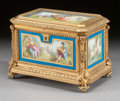 Ceramics & Porcelain, A FRENCH GILT BRONZE TABLE CASKET WITH ENAMELED SÈVRES-STYLE INSETS. 19th century. 5-3/8 x 7-3/4 x 5-1/2 inches (13.7 x 19.7...