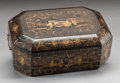 Paintings, AN ENGLISH CHINOISERIE LACQUERED SEWING BOX WITH FITTED INTERIOR. Early 19th century. 5 x 12-1/2 x 9 inches (12.7 x 31.8 x 2...
