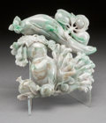 Asian:Chinese, A CHINESE CARVED JADEITE DOUBLE GOURD AND SQUID. 20th century.9-1/2 inches high (24.1 cm). ...