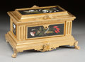 Decorative Arts, Continental:Other , A FRENCH GILT BRONZE AND PIETRA DURA BOX. 19th century. 5-3/8 x 10x 5-3/4 inches (13.7 x 25.4 x 14.6 cm). ...