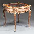Furniture : French, A NAPOLEON III LOUIS XV-STYLE GILT BRONZE MOUNTED MAHOGANY VITRINETABLE . Circa 1850. 26-1/2 x 25-3/4 x 22-1/2 inches (67.3...