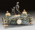 Decorative Arts, French, A FRENCH NEOCLASSICAL-STYLE MARBLE, GILT AND PATINATED BRONZECHINOISERIE INK WELL. 20th century. Marks to dial: OUSIN,MA...