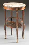 Paintings, A FRENCH MAHOGANY OVAL TWO TIER TABLE WITH GILT BRONZE MOUNTS AND MARBLE INSET TOP. 19th century. 29-1/4 x 19-1/2 x 12 inche...