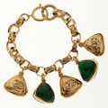 Luxury Accessories:Accessories, Chanel Hammered Gold Chain Bracelet with CC & Green GripoixCharms. ...