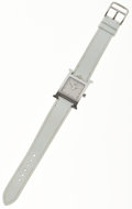 Luxury Accessories:Accessories, Hermes Classic Stainless Steel H Hour PM Watch with White EpsomLeather Strap. ...