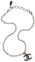 Luxury Accessories:Accessories, Chanel Gunmetal Chain Necklace with Black & Dark Purple StoneCC Motif. ...