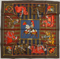 "Luxury Accessories:Accessories, Hermes Olive Green, Red & Navy Blue ""Chocs en Plume,"" byChristiane Vauzelles Silk Scarf. ..."