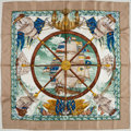 "Luxury Accessories:Accessories, Hermes Beige, Blue & Green ""Vive le Vent,"" by Laurence ThiouneSilk Scarf. ..."