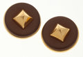 Luxury Accessories:Accessories, Hermes Noisette Agneau Leather Medor Stud Earrings with GoldHardware. ...