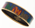 Luxury Accessories:Accessories, Hermes 65mm Blue, Red & Green Printed Enamel Bangle Braceletwith Gold Hardware. ...