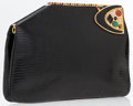 Luxury Accessories:Accessories, Judith Leiber Black Lizard Clutch Bag with Colorful Stone Detail....