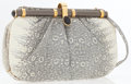 Luxury Accessories:Accessories, Judith Leiber Gray Ring Lizard Clutch Bag with Shoulder Strap . ...