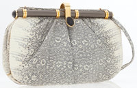 Judith Leiber Gray Ring Lizard Clutch Bag with Shoulder Strap