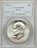 Eisenhower Dollars: , 1972-S $1 Silver MS68 PCGS. PCGS Population (1486/15). NGC Census: (387/5). Mintage: 2,193,056. Numismedia Wsl. Price for p...