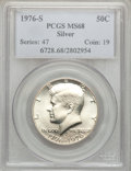 Kennedy Half Dollars: , 1976-S 50C Silver MS68 PCGS. PCGS Population (296/1). NGC Census:(20/0). Mintage: 11,000,000. Numismedia Wsl. Price for pr...
