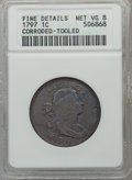 Large Cents: , 1797 1C Reverse of 1797, Stems -- Corroded, Tooled -- ANACS. FineDetails Net VG8. NGC Census: (9/130). PCGS Population (9/...