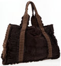 Luxury Accessories:Accessories, Dennis Basso Brown Mink & Suede Crocodile Tote Bag. ...