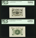 Fractional Currency:Third Issue, Fr. 1227SP 3¢ Third Issue Wide Margin Courtesy Autographed Pair PCGS Very Choice New 64PPQ and 55PPQ.. ... (Total: 2 notes)