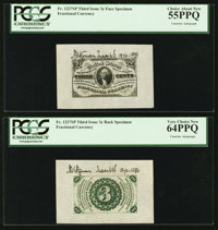 Fr. 1227SP 3¢ Third Issue Wide Margin Courtesy Autographed Pair PCGS Very Choice New 64PPQ and 55PPQ