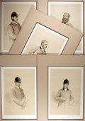 Books:Prints & Leaves, Vincent Brooks, Day & Son Lithographs. Lot of Five TintedLithograph Portraits of English Fox Hunters. Matted to an overall...