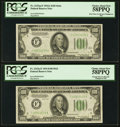 Small Size:Federal Reserve Notes, Fr. 2153-F/Fr. 2152-F $100 1934A/1934 Federal Reserve Notes. Reverse Changeover Pair. PCGS Choice About New 58PPQ.. ... (Total: 2 notes)