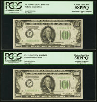 Fr. 2153-F/Fr. 2152-F $100 1934A/1934 Federal Reserve Notes. Reverse Changeover Pair. PCGS Choice About New 58PPQ