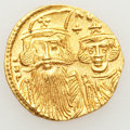Ancients:Byzantine, Ancients: Constans II, with Constantine IV, Heraclius and Tiberius(AD 641-668). AV solidus (4.44 gm)....