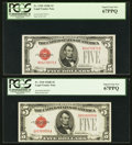 Small Size:Legal Tender Notes, Fr. 1530 $5 1928E Legal Tender Note. PCGS Superb Gem New 67PPQ (2).. ... (Total: 2 notes)