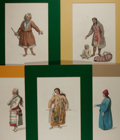 Books:Prints & Leaves, John Dadley (1767-1807), engraver. Lot of Five Superb Colored Engravings of European Costume, Circa 1802. Matted to an overa...