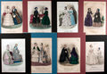 Books:Prints & Leaves, [Fashion Illustration] Lot of Eight Hand-Colored French 19thCentury Illustrations Featuring Women's Fashion. Matted to an o...