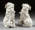 Asian:Chinese, A PAIR OF CHINESE BLANC DE CHINE FIGURES OF FOO DOGS. 20th century.Marks: MADE IN CHINA. 16 x 8 x 7 inches (40.6 x 20.3...(Total: 2 Items)