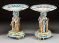 Ceramics & Porcelain, Continental:Antique  (Pre 1900), A PAIR OF GERMAN PORCELAIN FIGURAL TAZZAS . Late 19th/early 20thcentury. Marks: (spurious Meissen marks). 21-3/8 inches hig...(Total: 2 Items)