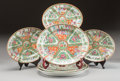Asian:Chinese, SIX CHINESE ROSE CANTON PORCELAIN OVAL CHARGERS. 19th century. 16inches long x 13-1/4 inches wide (40.6 x 33.7 cm) (largest...(Total: 6 Items)