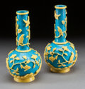 Asian:Chinese, A PAIR OF CHINESE PEKING GLASS FLORAL BOTTLENECK VASES. Early 20thcentury. 8-7/8 inches high x 4-1/4 inches wide (22.5 x 10...(Total: 2 Items)