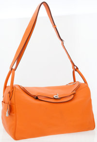 cbd64316856 Hermes 45cm Orange H Clemence Leather Lindy Voyage Travel Bag with Palladium  Hardware