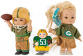 Football Collectibles:Others, 1960's Green Bay Packers Horsemen Dolls and Wind Up Ramp Walker Toys (3)....
